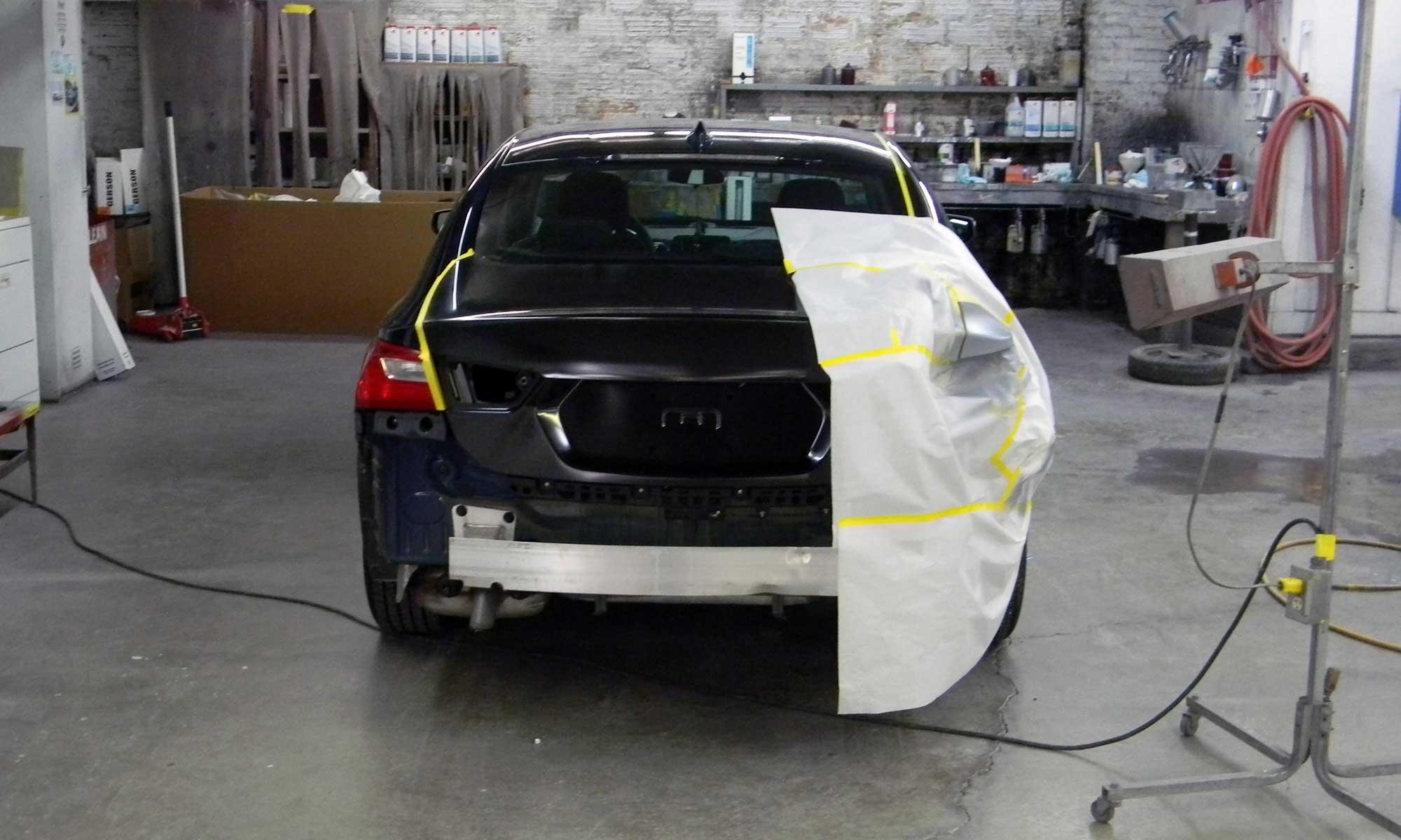 A car in prep at Murphy Bros Auto Body Elyria Ohio